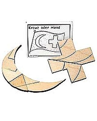 Knobelspiel/GeduldspielMini Puzzle Kreuz oder Mond