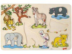 Kinderpuzzle Steckpuzzle Afrikanische Tierkinder